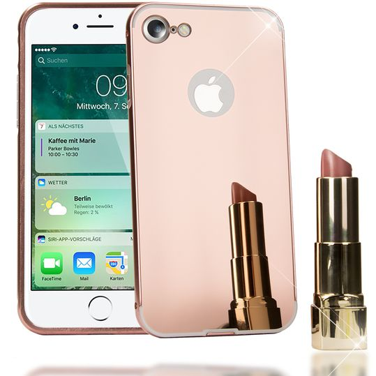 iPhone 7 Spiegel Hülle Handyhülle von NALIA, Ultra-Slim Mirror Case Cover Hardcase, Dünne Schutzhülle Backcover verspiegelt, Handy-Tasche Bumper Phone Etui für Apple iPhone-7 Phone - Rose Gold – Bild 1