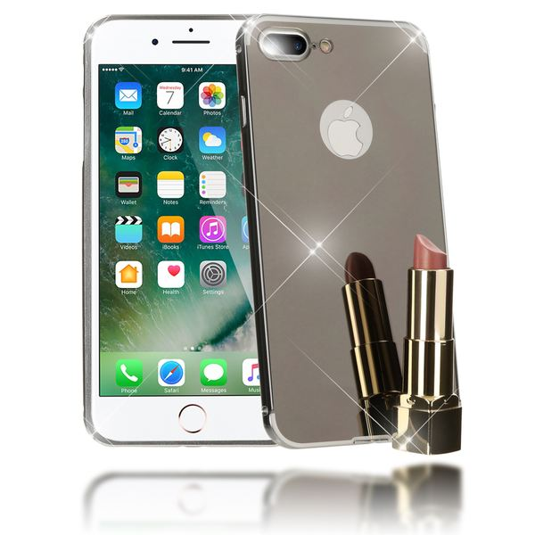 NALIA Spiegel Handyhülle kompatibel mit iPhone 8 Plus / 7 Plus, Ultra-Slim Mirror Cover Hard-Case, Dünnes Backcover Schutz-Hülle verspiegelt, Handy-Tasche Bumper Schale Smart-Phone Etui - Schwarz – Bild 1