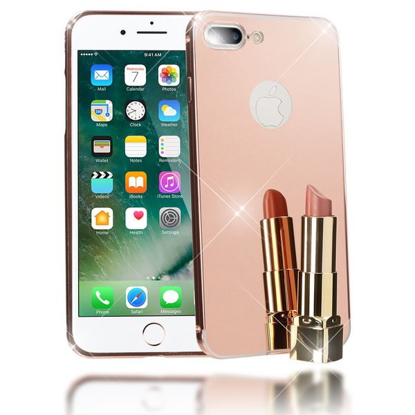 NALIA Spiegel Handyhülle kompatibel mit iPhone 8 Plus / 7 Plus, Ultra-Slim Mirror Cover Hard-Case, Dünnes Backcover Schutz-Hülle verspiegelt, Handy-Tasche Bumper Thin Smart-Phone Etui - Rose Gold – Bild 1