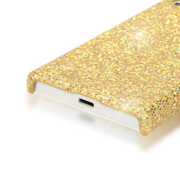 NALIA Handyhülle kompatibel mit Sony Xperia X Compact, Glitzer Slim Hard-Case Back-Cover Schutzhülle Handy-Tasche im Glitter Sparkle Design, Dünnes Bling Strass Etui Skin - Gelb Gold – Bild 3