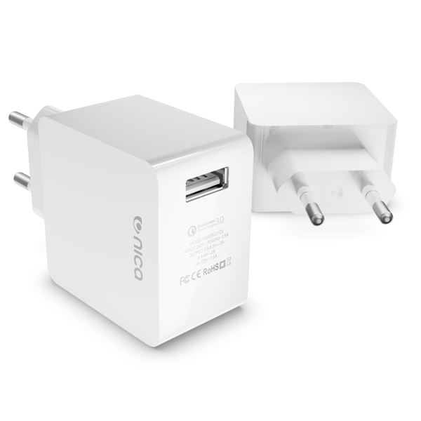 NALIA Quick-Charge 3.0 USB Ladegerät, Charger Netzteil Netz-Stecker Schnellladegerät Ladestecker Power Aufladegerät Lade-Adapter Smartphone kompatibel mit iPhone Samsung Huawei Sony Tablet  Weiß – Bild 1