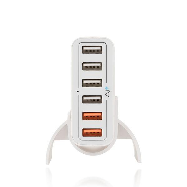 NALIA 6-Port USB Quick-Charge 2.0 Ladegerät, Charger Netzteil Netzstecker Schnellladegerät Ladestecker Adapter Power Aufladegerät Smartphone kompatibel mit iPhone Samsung Huawei Sony Tablet - Weiß – Bild 5