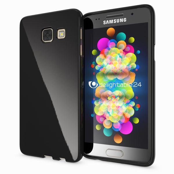 NALIA Handyhülle kompatibel mit Samsung Galaxy A3 2017, Ultra-Slim TPU Silikon Jelly Case, Dünne Gummi Schutzhülle Skin, Etui Handy-Tasche Telefon-Schale Thin Back-Cover Smart-Phone Bumper - Schwarz – Bild 1