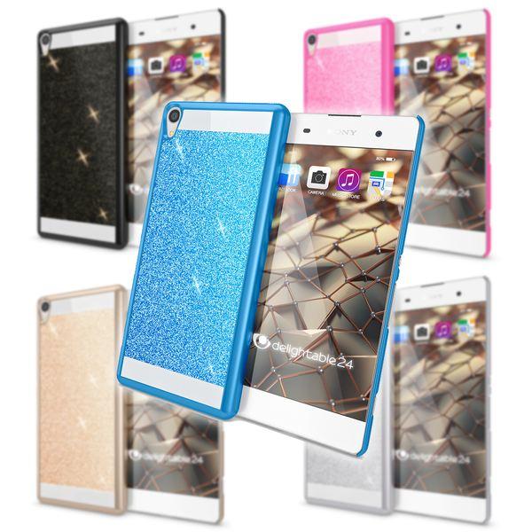 NALIA Handyhülle kompatibel mit Sony Xperia XA, Glitzer Slim Hard-Case Back-Cover Schutzhülle, Handy-Tasche im Glitter Design, Dünnes Bling Strass Etui Smart-Phone Skin  – Bild 1