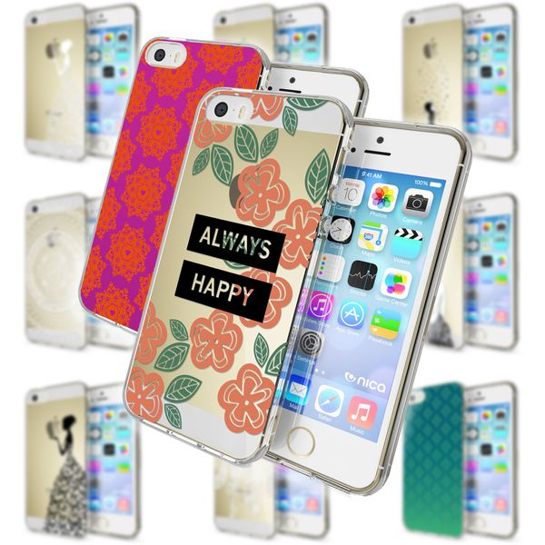 NALIA Handyhülle kompatibel mit iPhone SE 5 5S, Ultra-Slim Silikon Motiv Case Schutzhülle Dünn Durchsichtig, Etui Handy-Tasche Schale Back-Cover Transparent Smart-Phone – Bild 1
