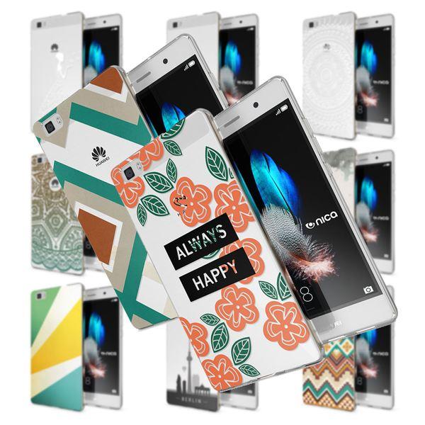 NALIA Handyhülle kompatibel mit Huawei P8 Lite, Slim Silikon Motiv Case Cover Hülle Crystal Schutzhülle Dünn Durchsichtig, Etui Handy-Tasche Back-Cover Smart-Phone Bumper – Bild 1