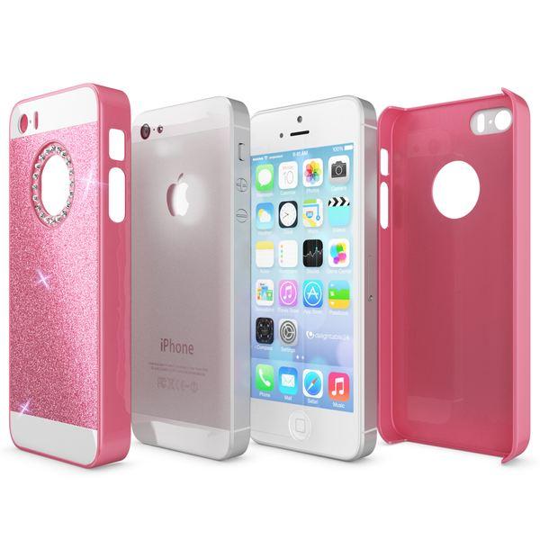 NALIA Handyhülle kompatibel mit iPhone SE 5 5S, Glitzer Slim Hard-Case Back-Cover Schutzhülle, Handy-Tasche im Glitter Design, Dünnes Bling Strass Etui Schale Smart-Phone Skin – Bild 8