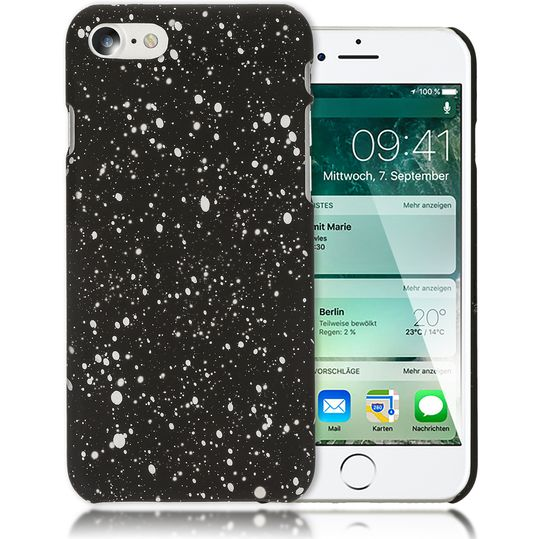 iPhone 7 / 8 Hülle Sternenhimmel Handyhülle von NALIA, Dünnes 3D Case Cover Glitzer Schutz Handy-Tasche, Ultra-Slim Liquid Silikon Hardcase Bumper Backcover für Apple iPhone 8 / 7 – Bild 2