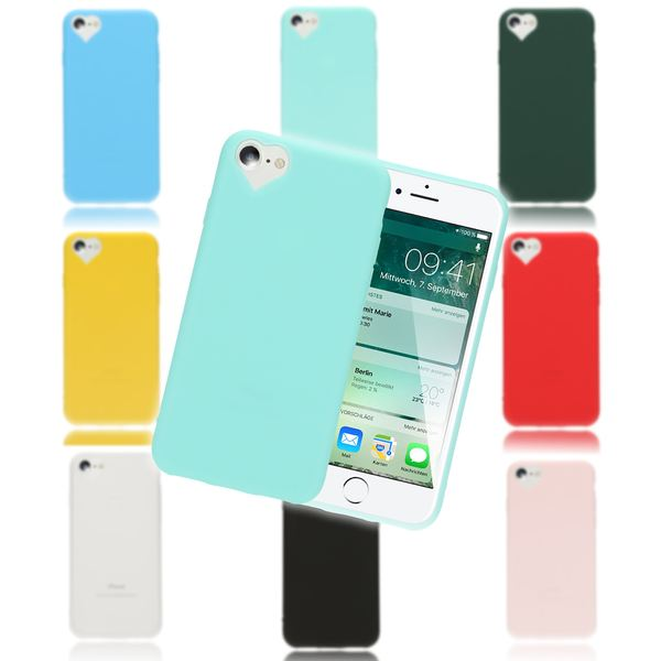 NALIA Herz Handyhülle kompatibel mit iPhone 8 / 7, Silikon Case Schutz-Hülle Gummihülle, Soft Slim Cover Etui Dünne Handy-Tasche, Ultra-Slim Smart-Phone Back-Cover Skin Bumper – Bild 1