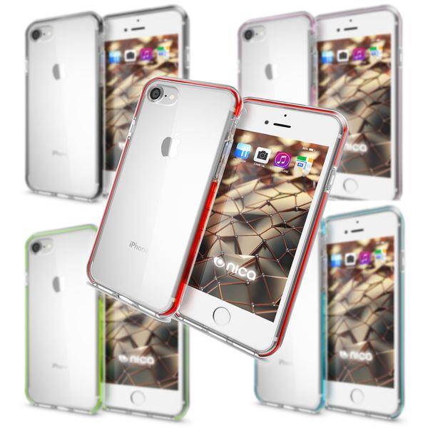 NALIA Handyhülle kompatibel mit iPhone 8 / 7, Durchsichtiges Slim Silikon Case Transparente Rückseite & Farbiger Bumper, Crystal Schutzhülle Dünn, Handy-Tasche Back-Cover Skin Hülle – Bild 1