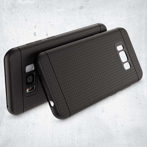 NALIA Handyhülle kompatibel mit Samsung Galaxy S8, Mesh Design Schutzhülle Ultra-Slim Soft Case, Dünne Punkte Handy-Tasche Schale, Etui Back-Cover Bumper Silikon Smart-Phone Gummi Hülle - Schwarz – Bild 2