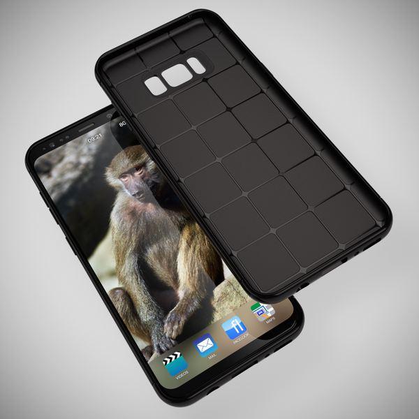 NALIA Handyhülle kompatibel mit Samsung Galaxy S8 Plus, Mesh Design Schutzhülle Ultra-Slim Soft Case, Punkte Handy-Tasche Schale Dünn, Etui Back-Cover Bumper Silikon Smart-Phone Gummi Hülle - Schwarz – Bild 6