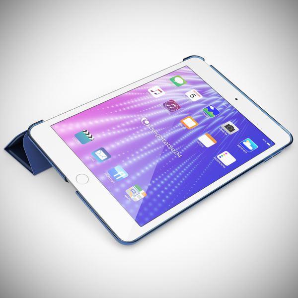 NALIA Smart-Case kompatibel mit iPad Mini 4, Ultra-Slim Cover Dünne Tablet Schutzhülle, Kunst-leder Hardcase Multi-Ständer Tasche, Display-Schutz & Backcover Flip-Case Klapphülle Sleeve - Dunkelblau – Bild 2