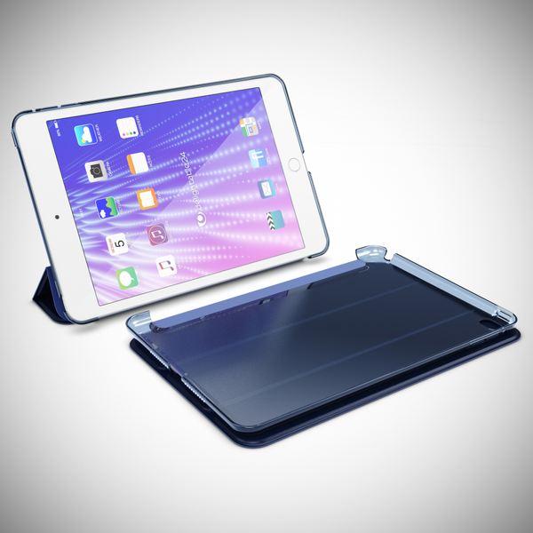 NALIA Smart-Case kompatibel mit iPad Mini 4, Ultra-Slim Cover Dünne Tablet Schutzhülle, Kunst-leder Hardcase Multi-Ständer Tasche, Display-Schutz & Backcover Flip-Case Klapphülle Sleeve - Dunkelblau – Bild 7