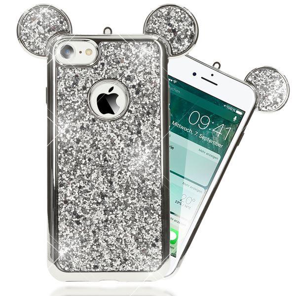 NALIA Handyhülle kompatibel mit iPhone 7, Glitzer Slim Back-Cover Case mit Maus Ohren, Glitter Silikon Hülle Schutzhülle Dünn, Strass Bling Etui Handy-Tasche Smart-Phone Bumper – Bild 12