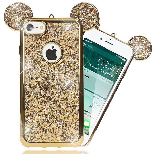 NALIA Handyhülle kompatibel mit iPhone 7, Glitzer Slim Back-Cover Case mit Maus Ohren, Glitter Silikon Hülle Schutzhülle Dünn, Strass Bling Etui Handy-Tasche Smart-Phone Bumper – Bild 17