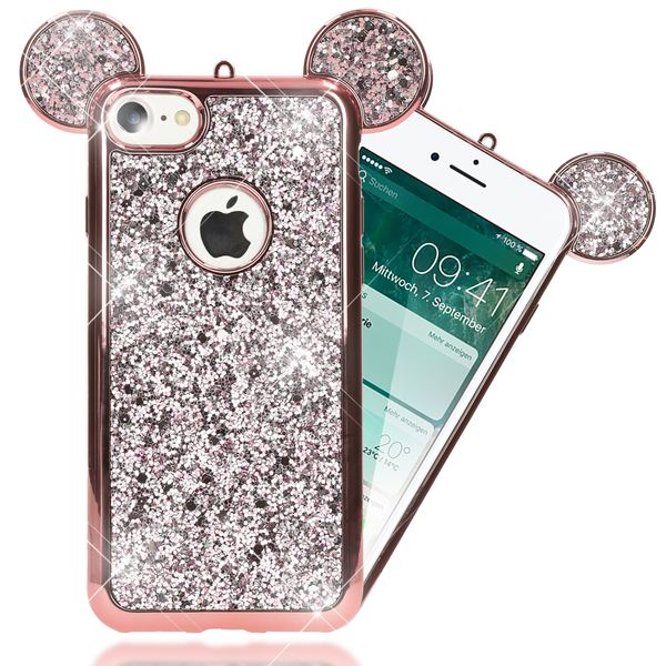NALIA Handyhülle kompatibel mit iPhone 7, Glitzer Slim Back-Cover Case mit Maus Ohren, Glitter Silikon Hülle Schutzhülle Dünn, Strass Bling Etui Handy-Tasche Smart-Phone Bumper – Bild 22