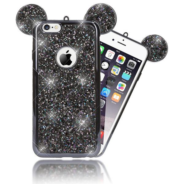 NALIA Handyhülle für iPhone 6 6S, Glitzer Slim Back-Cover Case mit Maus Ohren Glitter Silikonhülle Schutz-Hülle Dünnes Strass Bling Etui Handy-Tasche Bumper für Apple iPhone 6S 6 – Bild 2