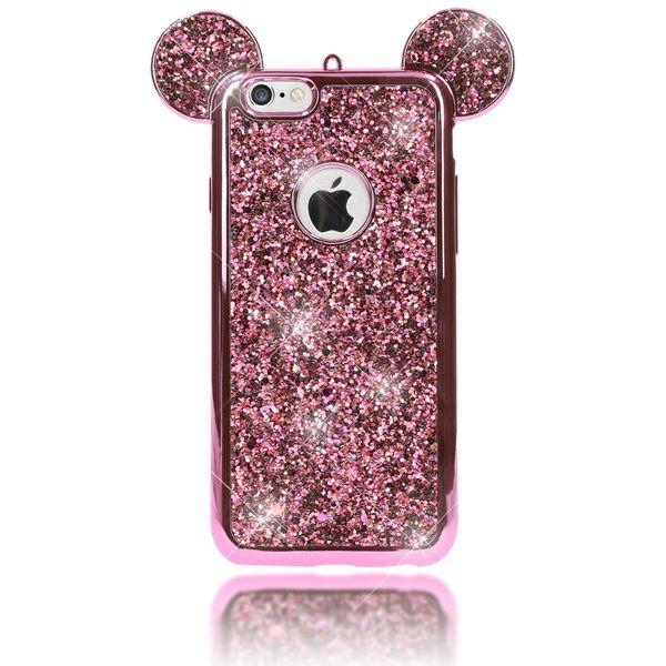 NALIA Handyhülle für iPhone 6 6S, Glitzer Slim Back-Cover Case mit Maus Ohren Glitter Silikonhülle Schutz-Hülle Dünnes Strass Bling Etui Handy-Tasche Bumper für Apple iPhone 6S 6 – Bild 6