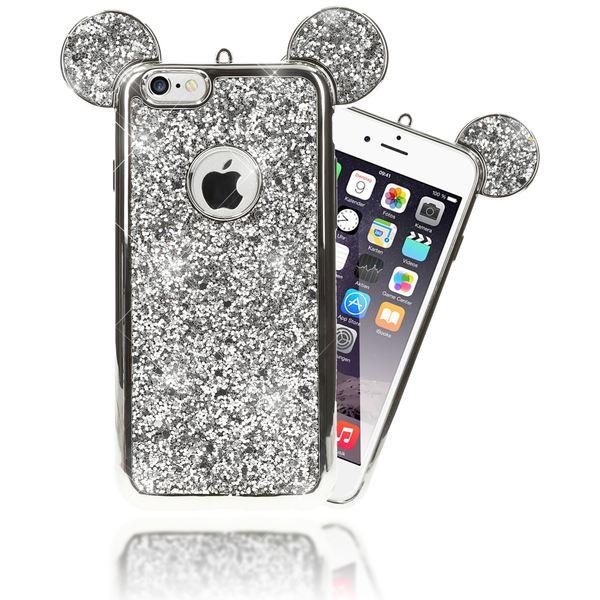 NALIA Handyhülle kompatibel mit iPhone 6 6S, Glitzer Slim Back-Cover Case mit Maus Ohren, Glitter Silikon Hülle Schutzhülle Dünn, Strass Bling Etui Handy-Tasche Smart-Phone Bumper – Bild 8