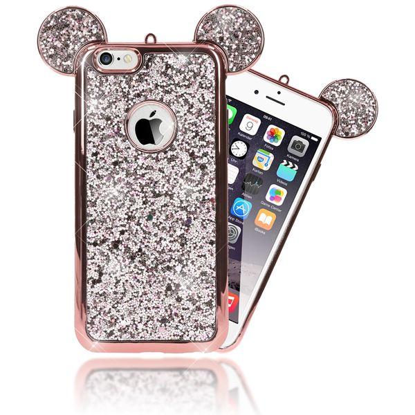 NALIA Handyhülle für iPhone 6 6S, Glitzer Slim Back-Cover Case mit Maus Ohren Glitter Silikonhülle Schutz-Hülle Dünnes Strass Bling Etui Handy-Tasche Bumper für Apple iPhone 6S 6 – Bild 14