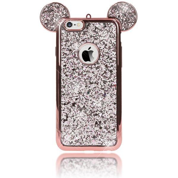 NALIA Handyhülle für iPhone 6 6S, Glitzer Slim Back-Cover Case mit Maus Ohren Glitter Silikonhülle Schutz-Hülle Dünnes Strass Bling Etui Handy-Tasche Bumper für Apple iPhone 6S 6 – Bild 15