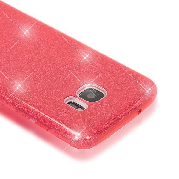 NALIA Handyhülle kompatibel mit Samsung Galaxy S7 Edge, Glitzer Slim Silikon-Case Hülle Back-Cover Schutzhülle, Glitter Sparkle Handy-Tasche Schale Bumper, Dünnes Bling Strass Smart-Phone Etui - Rot – Bild 2