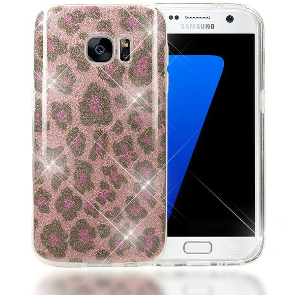 NALIA Handyhülle kompatibel mit Samsung Galaxy S7, Glitzer Leopard Slim Silikon-Case Hülle Back-Cover Schutzhülle, Glitter Leo Sparkle Handy-Tasche, Dünnes Bling Strass Smart-Phone Etui - Pink Lila – Bild 1