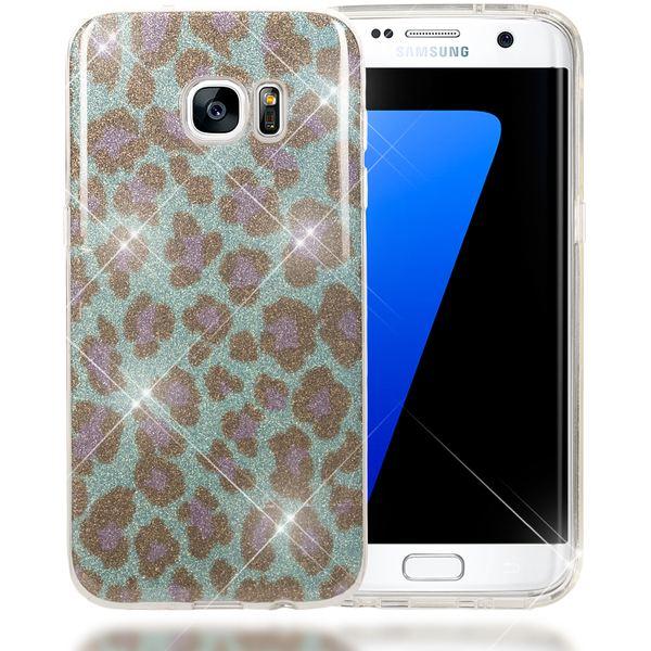 NALIA Handyhülle kompatibel mit Samsung Galaxy S7 Edge, Glitzer Slim Silikon-Case Hülle Back-Cover, Dünne Glänzende Sparkle Leopard Design Glitter Bling Bumper Smart-Phone Schutzhülle - Türkis Blau – Bild 1