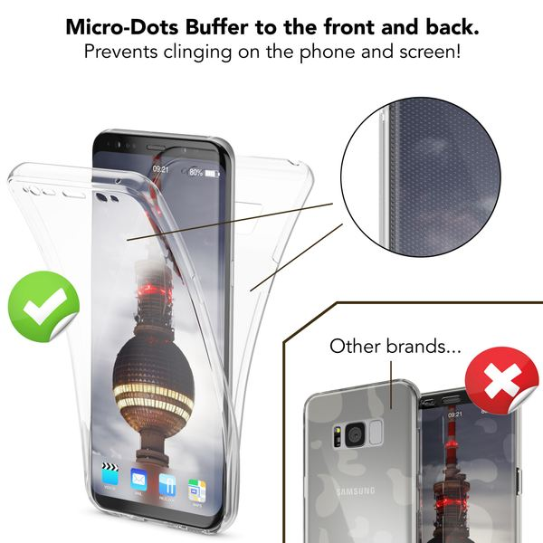 NALIA 360 Grad Hülle kompatibel mit Samsung Galaxy S8 Plus, Full Cover Rundum Doppel-Schutz Handyhülle, Dünnes Ganzkörper Silikon Case, Transparente Schutzhülle Vorne & Hinten – Bild 23