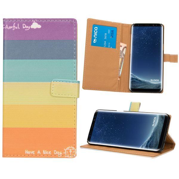 NALIA Klapphülle kompatibel mit Samsung Galaxy S8, Slim Kunst-Leder Flip-Case Vegan, Motiv Full-Body Smart-Phone Etui Schutzhülle Dünn, Handyhülle Wallet Bumper Skin Hülle – Bild 2