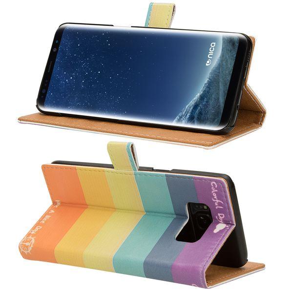 NALIA Klapphülle kompatibel mit Samsung Galaxy S8, Slim Kunst-Leder Flip-Case Vegan, Motiv Full-Body Smart-Phone Etui Schutzhülle Dünn, Handyhülle Wallet Bumper Skin Hülle – Bild 6