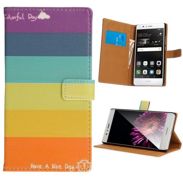 NALIA Klapp-Handyhülle für Huawei P9 Lite, Slim Flip-Case Kunst-Leder Vegan, Phone Etui Schutz-Hülle Dünne Handy-Tasche Wallet Bumper für P9-Lite, Designs: Colorful Stripes – Bild 20