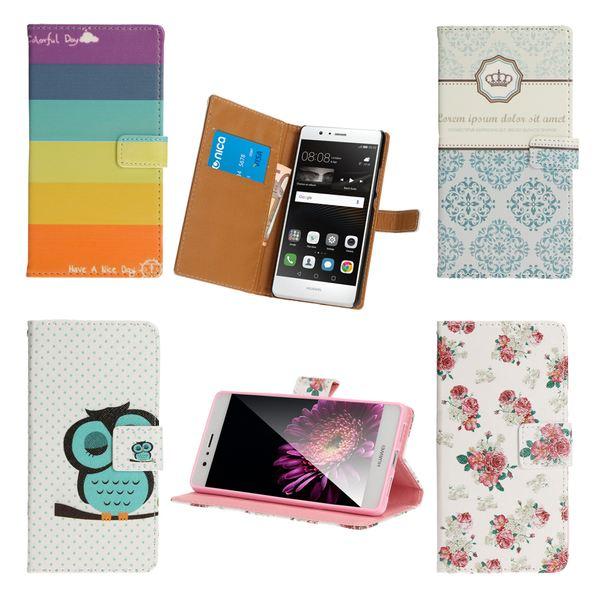 NALIA Klapp-Handyhülle für Huawei P9 Lite, Slim Flip-Case Kunst-Leder Vegan, Phone Etui Schutz-Hülle Dünne Handy-Tasche Wallet Bumper für P9-Lite, Designs: Colorful Stripes – Bild 1