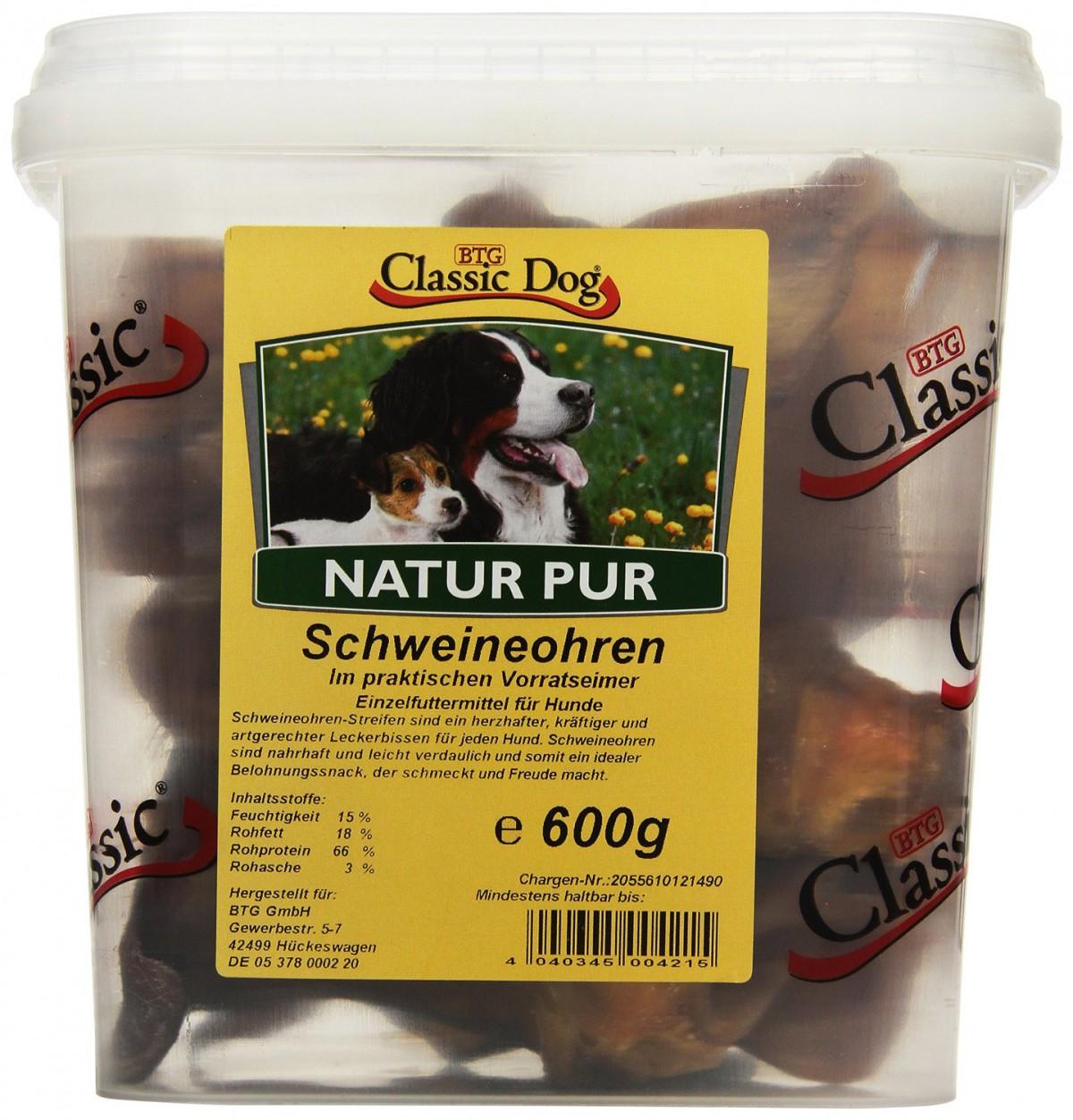 Classic Dog Schweineohren Hundesnack | 600g Trockenfutter