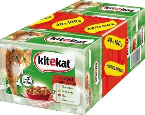 Kitekat Multipack Bunte Vierfalt | 48x 100g Katzenfutter