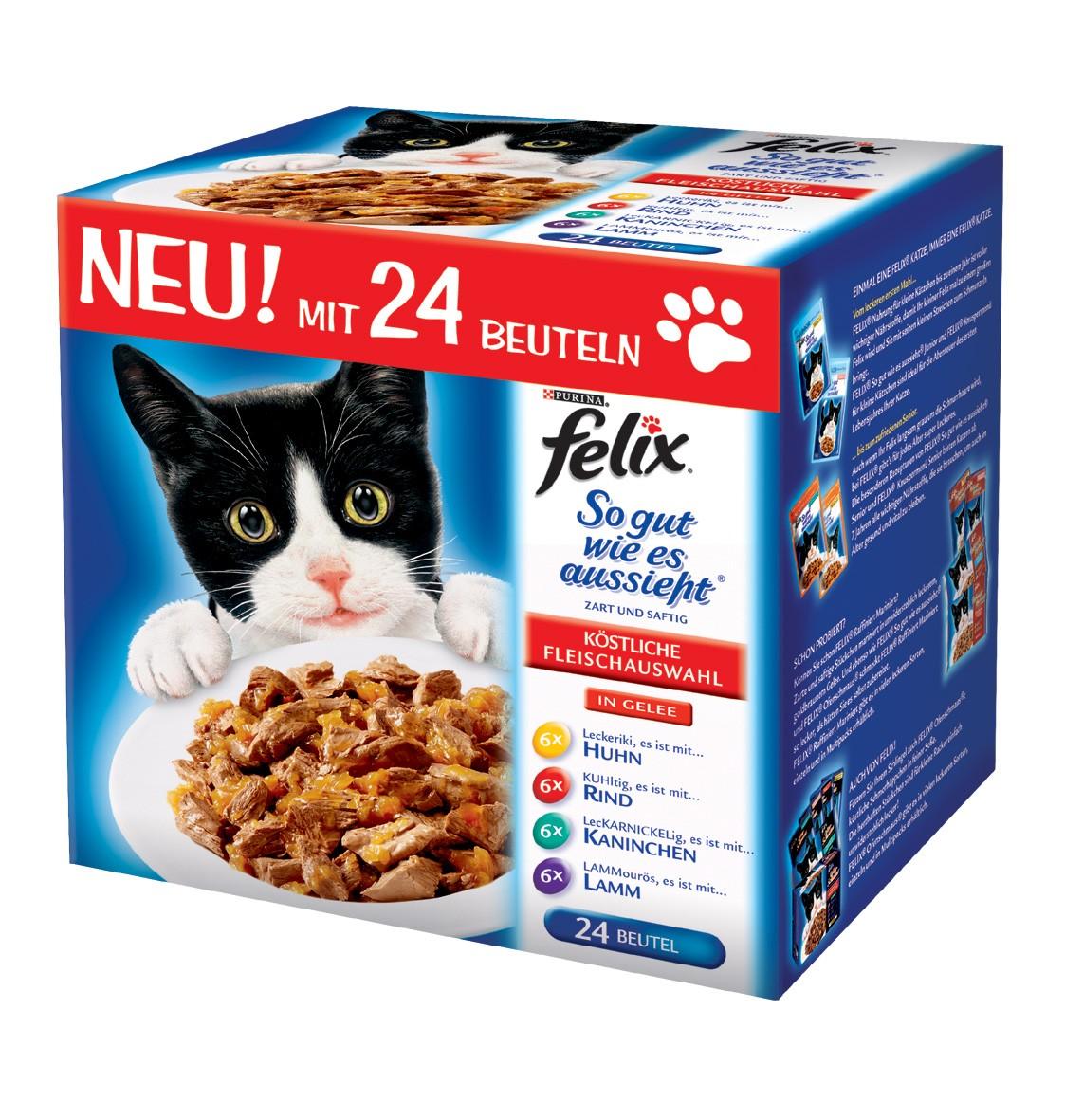 Felix Multipack Fleisch | 96x 100g Katzenfutter nass