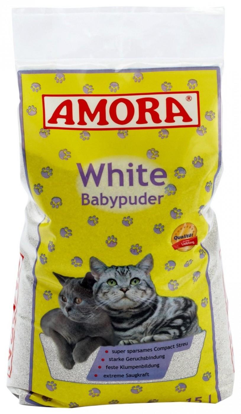 Amora White Katzenstreu | 15 Liter mit Babypuderduft