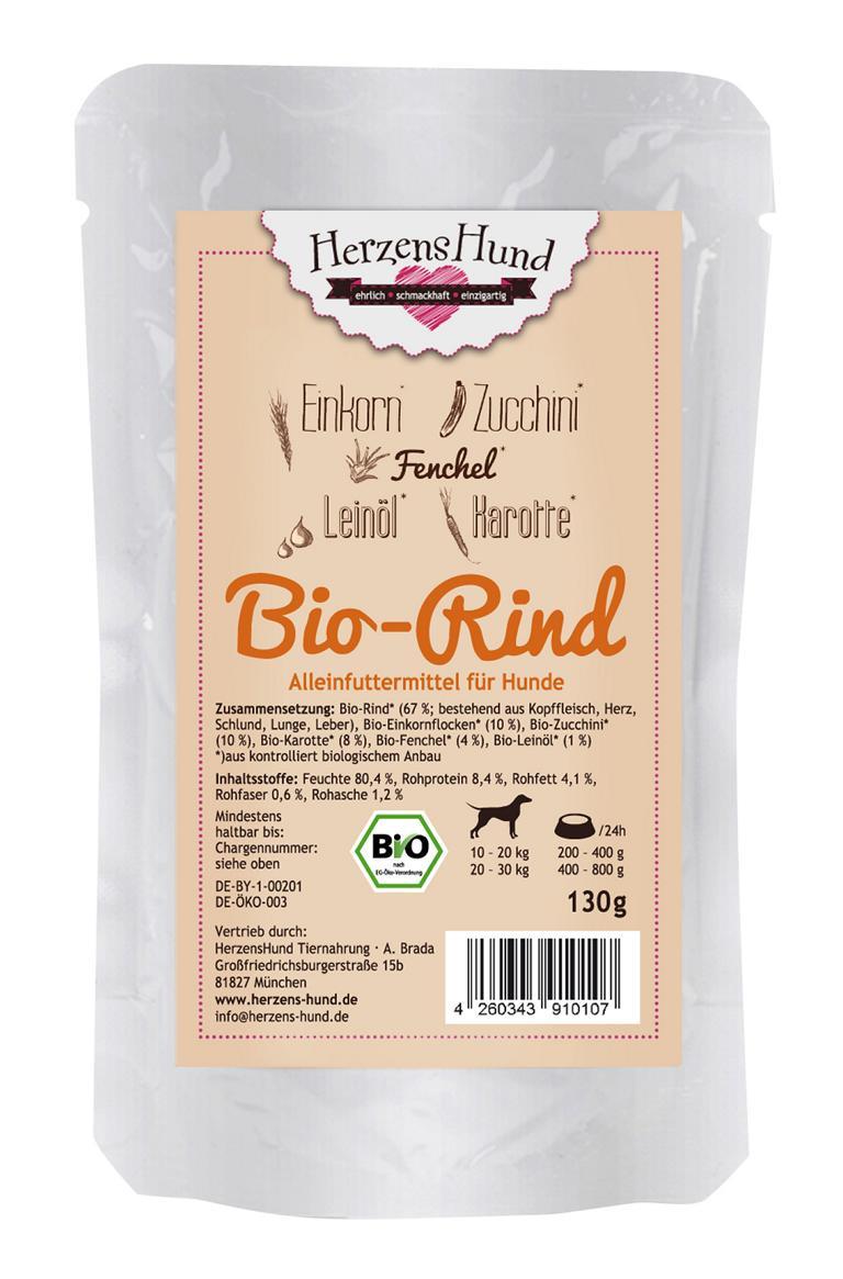 Herzenshund Bio Rindfleisch | 15x130g Hundenassfutter