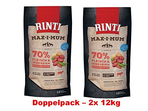 Rinti Max-i-mum Rind | 2x 12kg Hundefutter Sparpackung