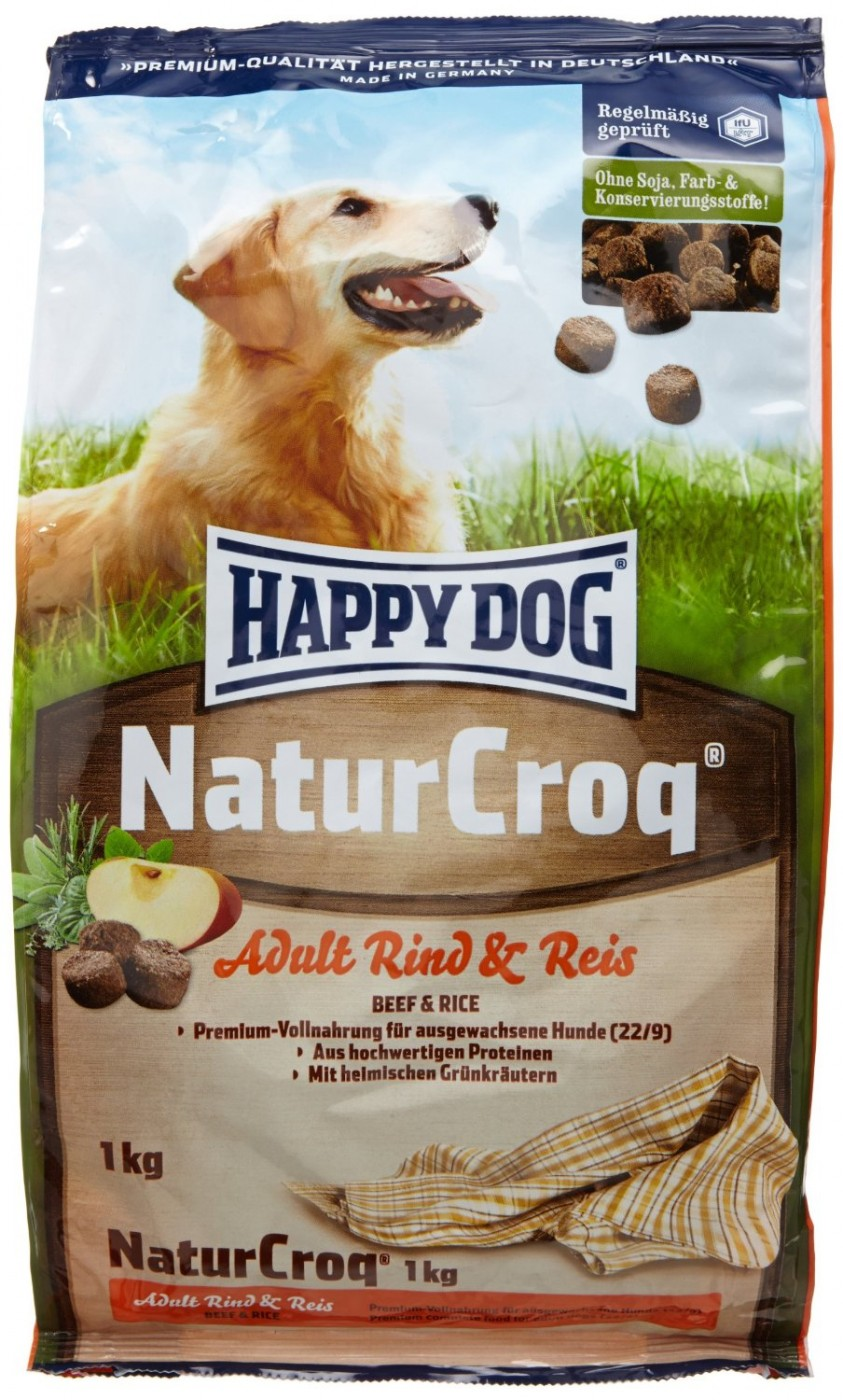 happy dog naturcroq 1kg rind reis hundefutter. Black Bedroom Furniture Sets. Home Design Ideas