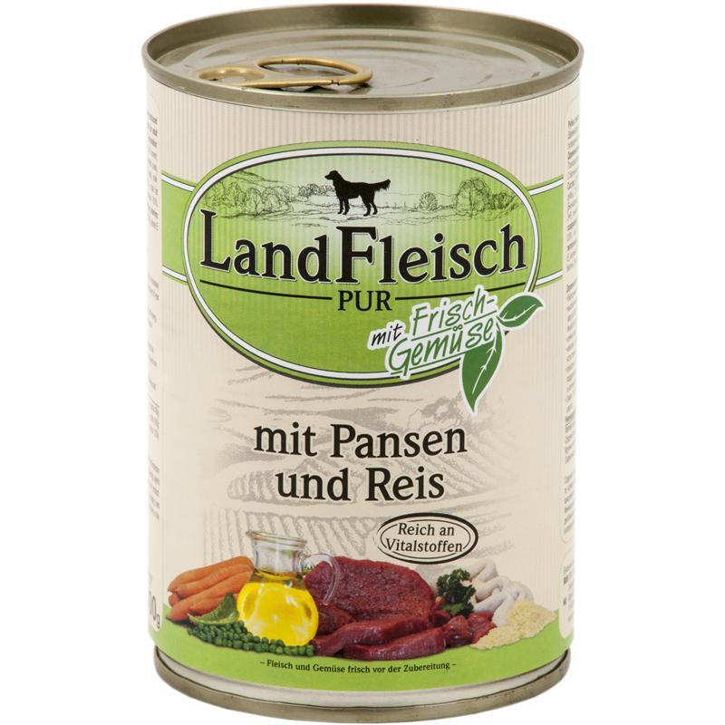 Landfleisch Pur Pansen & Reis | 12x 400g Hundefutter