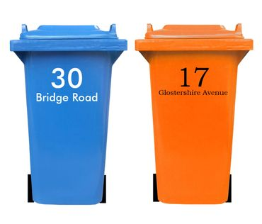 Bin sticker with house number and street name – Bild 1