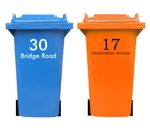 Bin sticker with house number and street name 001