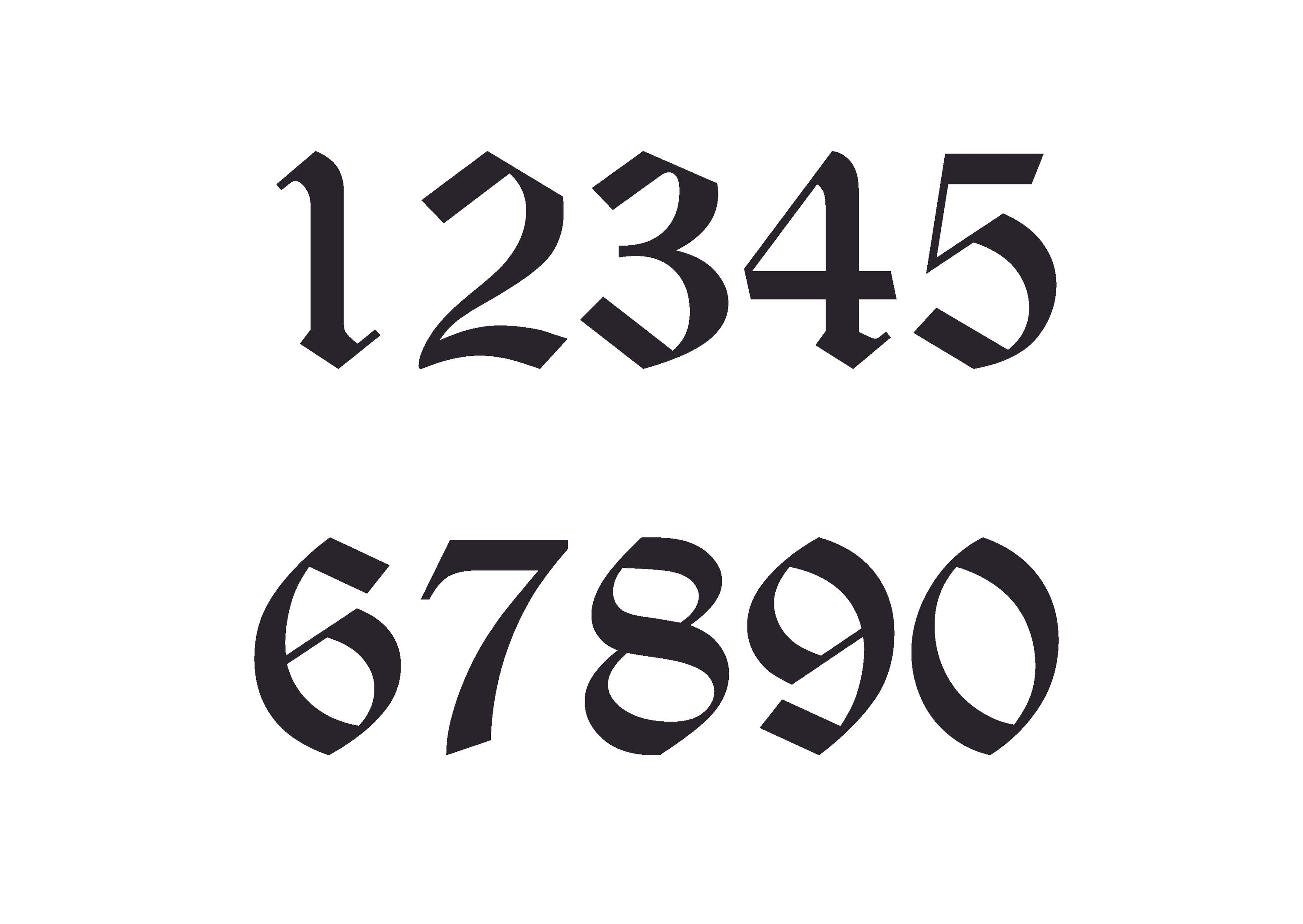 Old English Number Sticker Set 0-9Old English Numbers