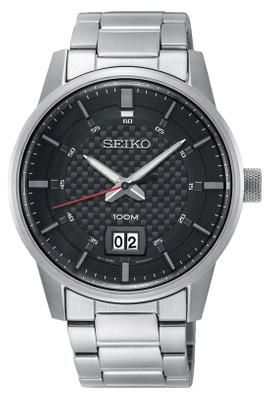 Seiko Quarz Armbanduhr SUR269P1 / SUR269 mit Carbon Zifferblatt