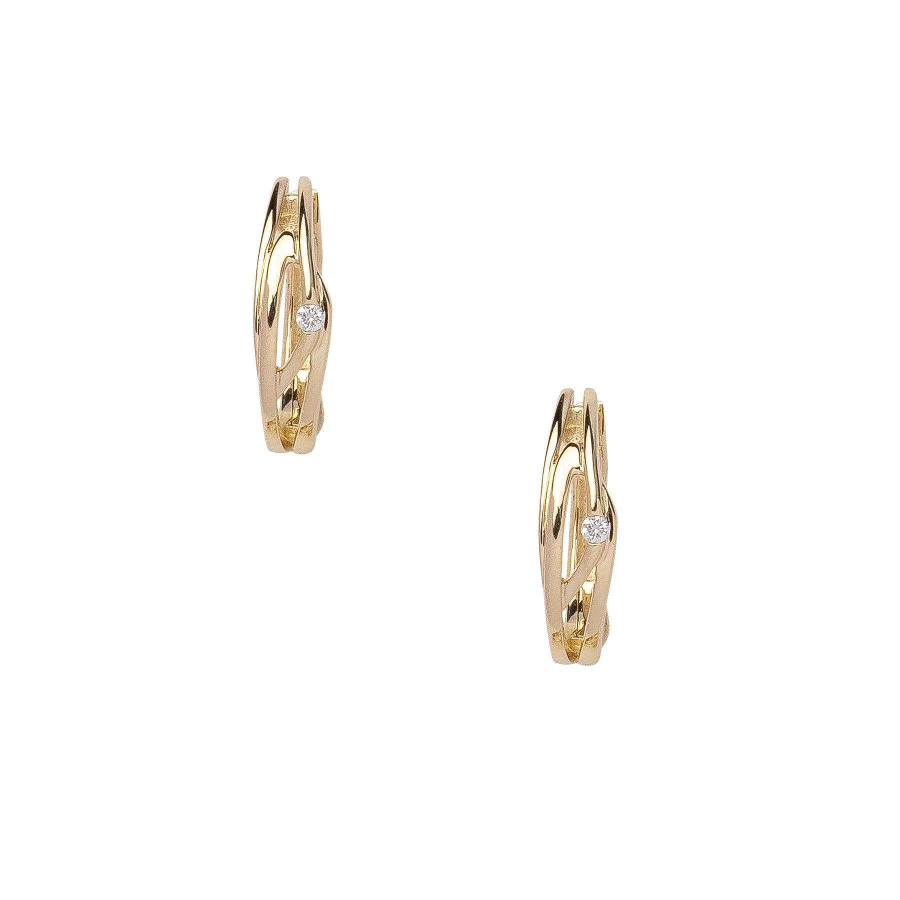Eder Goldschmuck Gold Creolen 14kt 585 er Gelbgold mit echtem Brillant 05.EG200