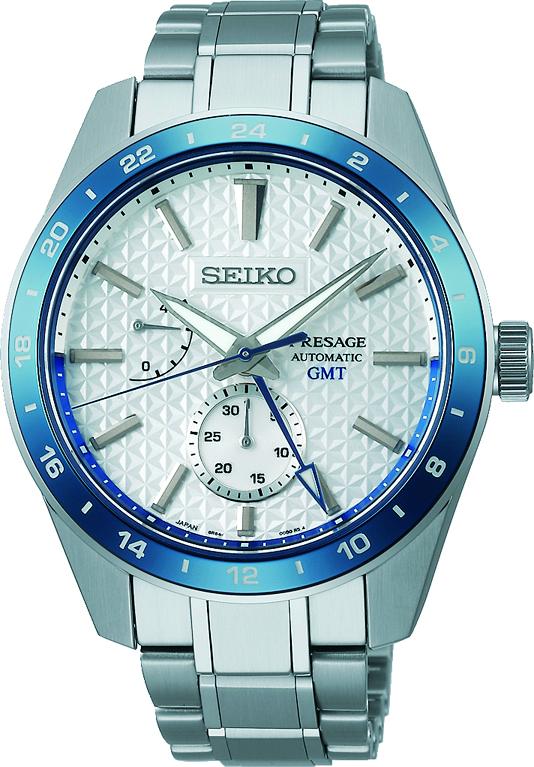 Seiko Presage SPB223J1/ SPB223 sharp edged GMT Herren Automatikuhr mit Saphirglas