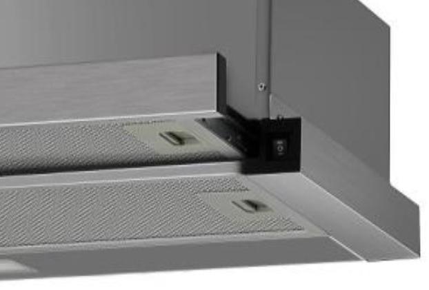 Dunstabzugshaube ausziehbar Edelstahl 60cm Einbau Umluft Abluft Flachschirmhaube