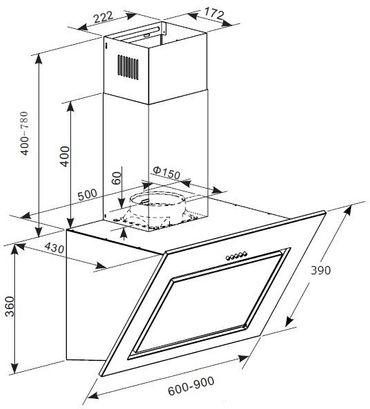 PKM S7-60AWTH Dunstabzugshaube 60cm Schräghaube Glas Randabsaugung – Bild 4